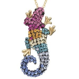 Multicolored lizard necklace